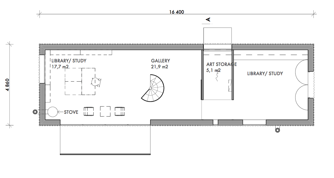 From the building plans, second floor